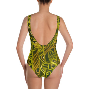 Barcelona beachstyle, Womens , one piece swim suit : Señora Perla Collection -yellow and black - Eldragonfly Barcelona
