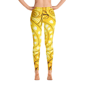 Señora Elena Mar Collection : Low waist, yellow leggings with a drawing of a mythical sea creature - Eldragonfly Barcelona