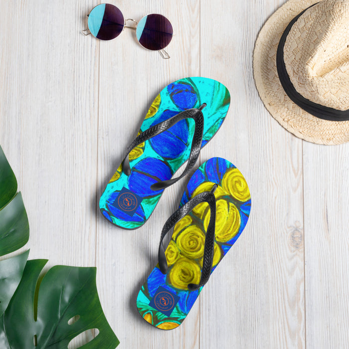 Mediterranean flower Collection: Mediterranean flower print onto flip flops: Made to order
