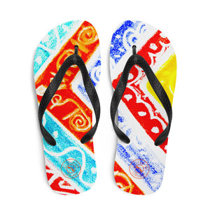 Ava Collection : Barcelona beach and surf style flipflops with a tribal colourful design . MADE TO ORDER - Eldragonfly Barcelona