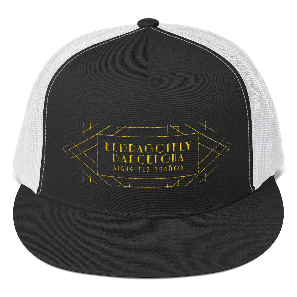 Barcelon beach style, Unisex trucker hat : Señor Luciano Collection (Yellow  print) - Eldragonfly Barcelona