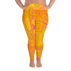 Señora Costa Collection: Low waist yellow graffiti style plus size leggings . MADE TO ORDER - Eldragonfly Barcelona