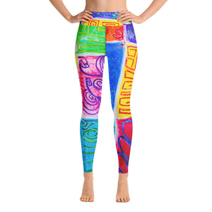 Rosalina Collection: High waist leggings with abstract tribal artwork - Eldragonfly Barcelona
