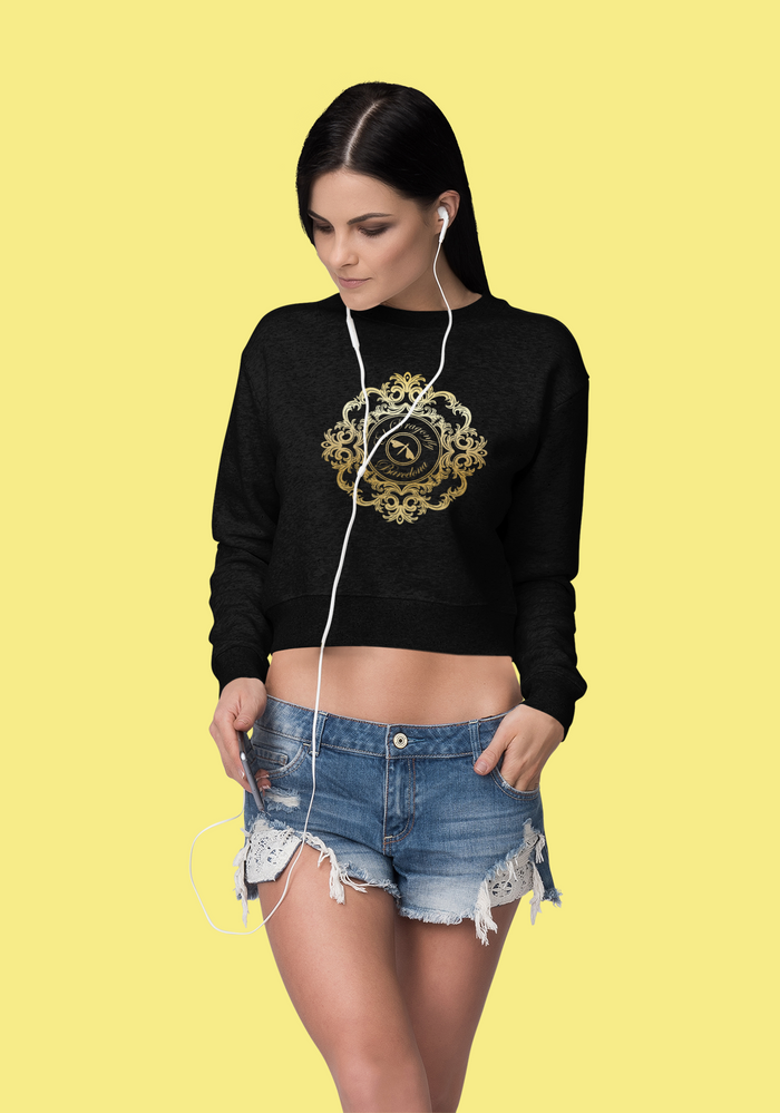 Señora Marina Collection: Womens  beach fashion crop sweater with an Eldragonfly logo. (S;M;L)