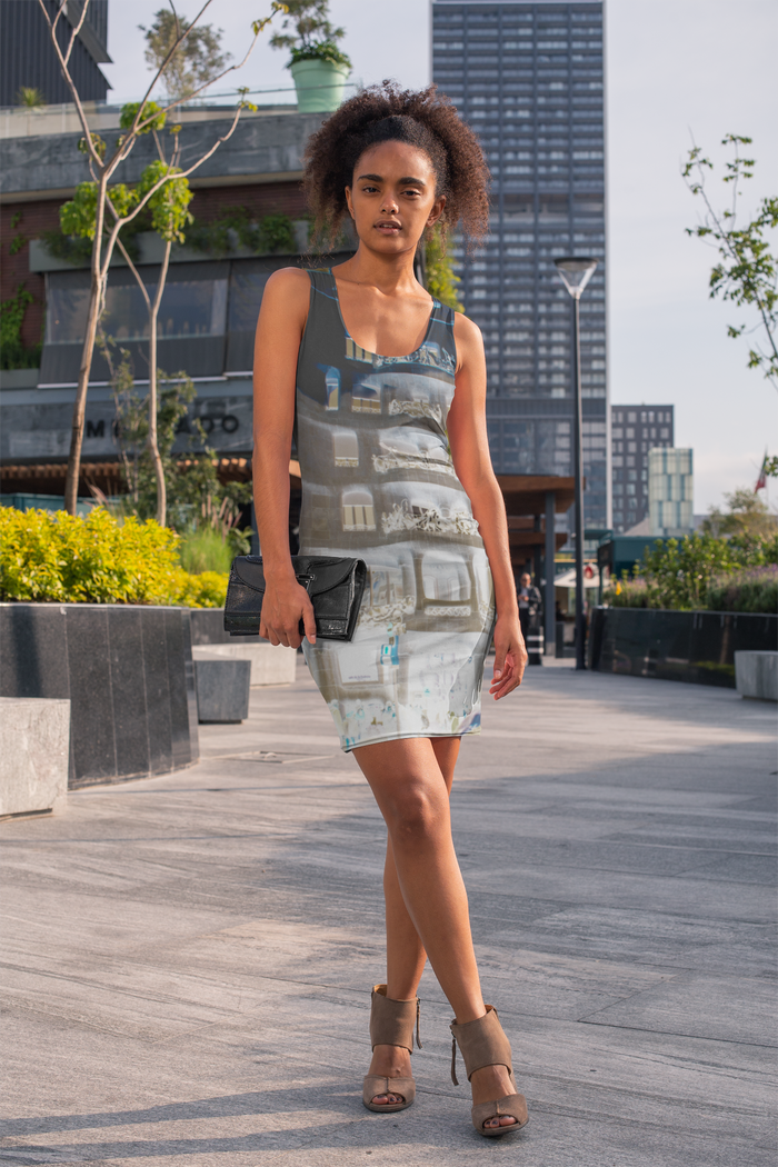 La Pedrera Collection : Knee high slim fit, beach style grey dress . MADE TO ORDER