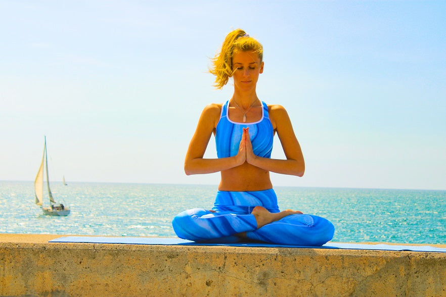Valery Collection: Yoga high waist, blue yoga leggings MADE TO ORDER - Eldragonfly Barcelona