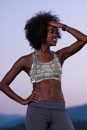 La Pedrera Collection:Beach fashion grey sports bra . MADE TO ORDER