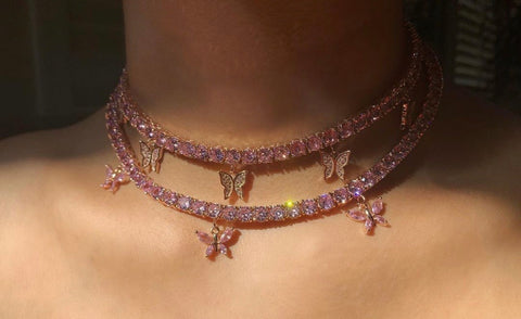 PINK BUTTERFLY CHOKER - Bling Ting