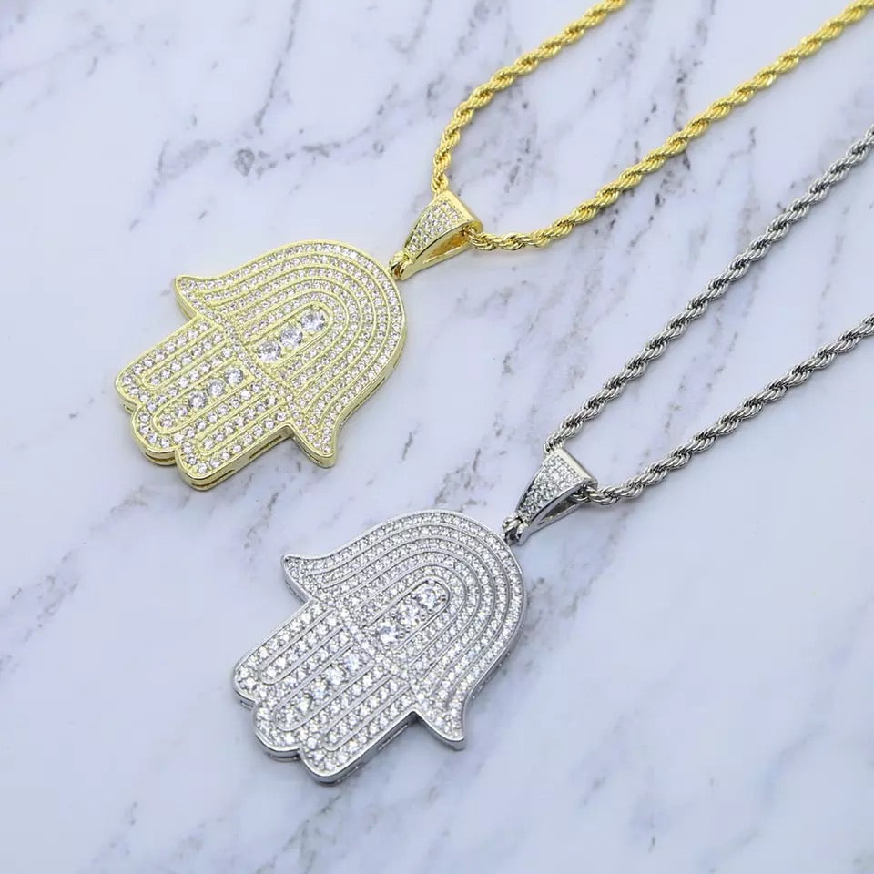 FROSTY HAMSA NECKLACE - Bling Ting