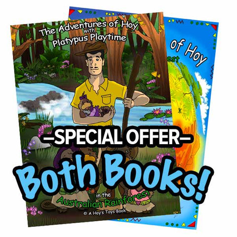"""Book Bundle: The Adventures of Hoy: Platypus Playtime reader book AND the Australian Rainforest activity book"