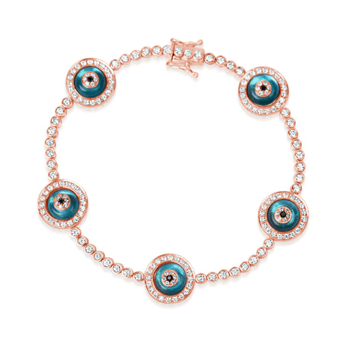 Evil Eye & Rose Gold Charmed Bracelet