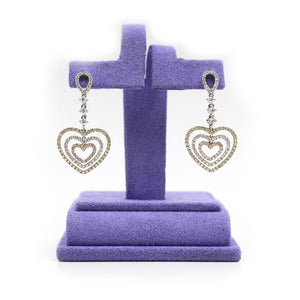 Tri-Colored Heart Drop Diamond Earrings