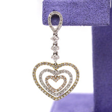 Load image into Gallery viewer, Tri-Colored Heart Drop Diamond Earrings