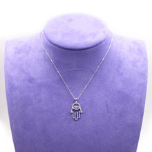 Load image into Gallery viewer, Hamsa Diamond Pendant & White Gold Necklace