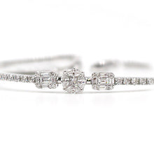 Load image into Gallery viewer, White Gold Bangle & Three Diamond Set