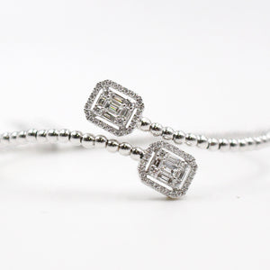 White Gold Bangle & Emerald Cut Diamonds