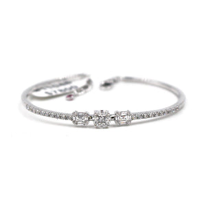 White Gold Bangle & Three Diamond Set