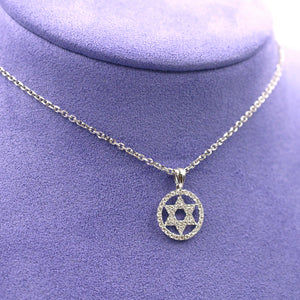 Star of David Diamond Pendant Necklace