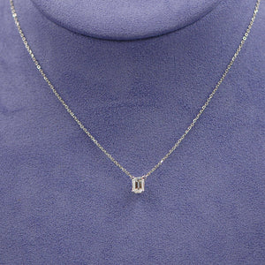 Emerald Cut Solitaire Necklace