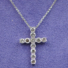 Load image into Gallery viewer, 18kt white gold Diamond Cross