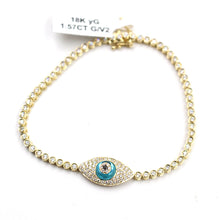 Load image into Gallery viewer, Evil Eye Pendant & Yellow Gold Bracelet