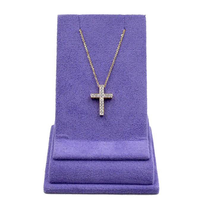 18k Gold & Diamond Cross Pendant Necklace