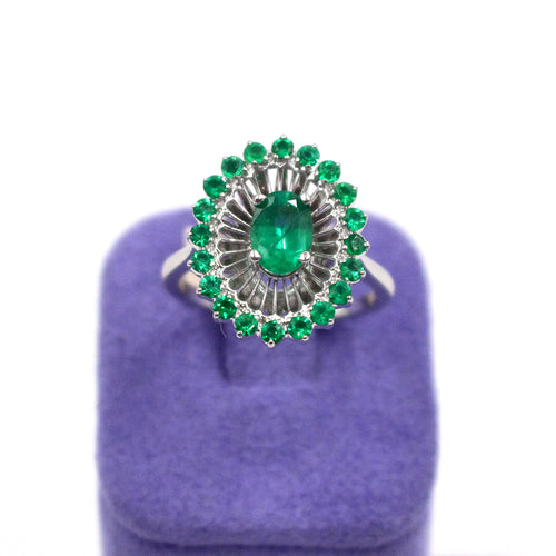White Gold & Emerald Shield Ring
