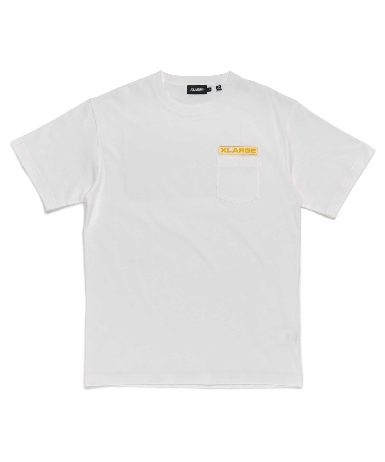 S/S ROUNDED LOGO POCKET TEE - WHITE