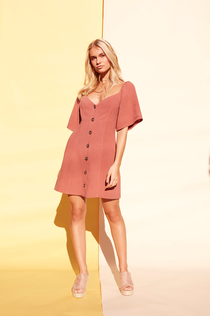 BUTTON UP MINI DRESS