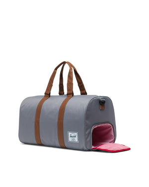 HERSCHEL LUGGAGE Default NOVEL DUFFLE - GREY/TAN SYNTHETIC LEATHER