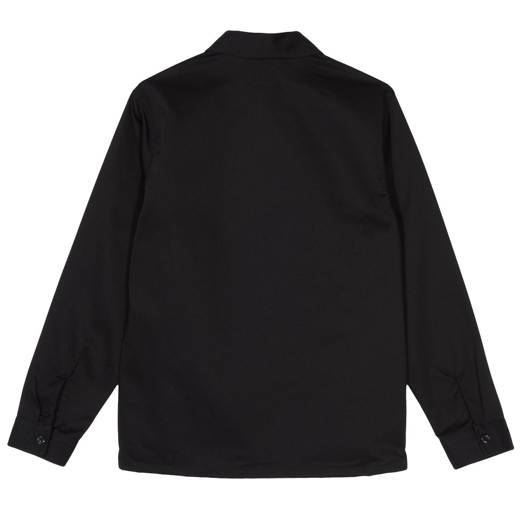 ZIP UP WORK L/S SHIRT - BLACK