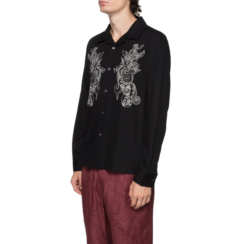 EMBROIDERED DRAGON L/S SHIRT - BLACK