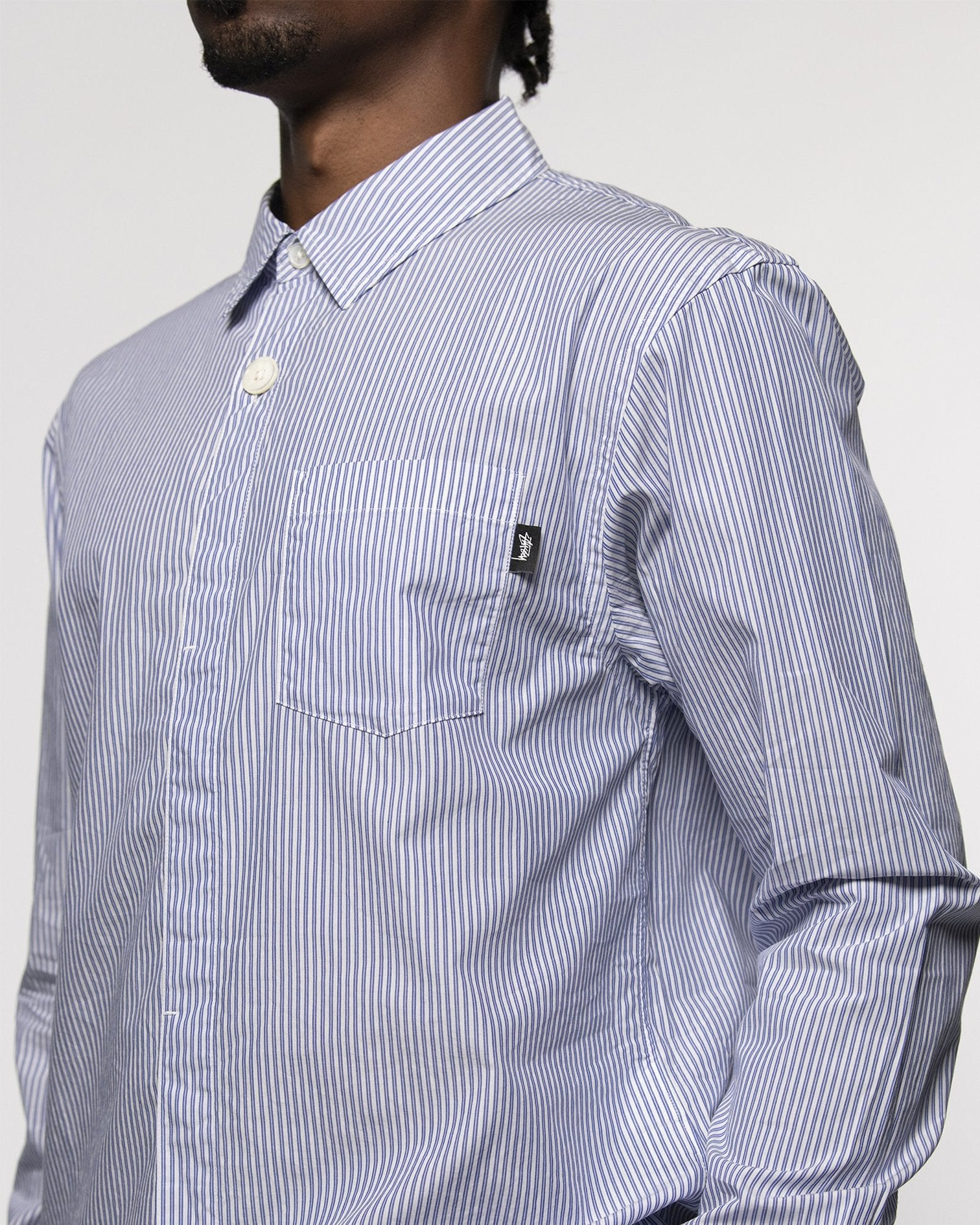 STUSSY M'S SHIRTS BIG BUTTON STRIPE SHIRT