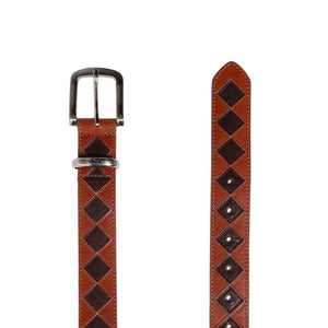STUSSY BELTS ARGYLE STITCH LEATHER BELT