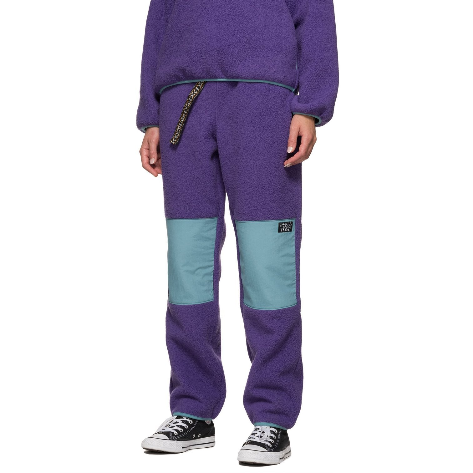 STUSSY W'S PANTS SUMMIT POLAR FLEECE PANT - PURPLE OR BLACK