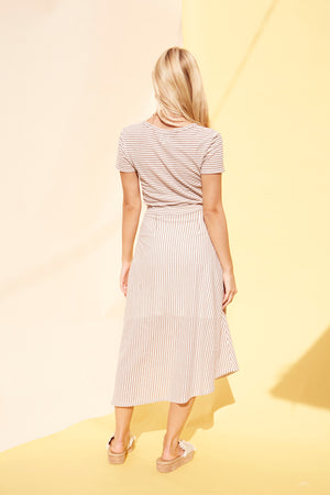 STRIPED KNIT MIDI SKIRT