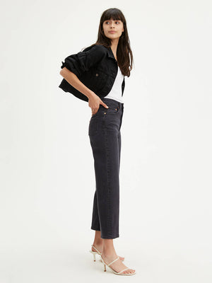 LEVIS W'S PANTS RIBCAGE STRAIGHT ANKLE JEANS - FEELIN' CAGEY BLACK