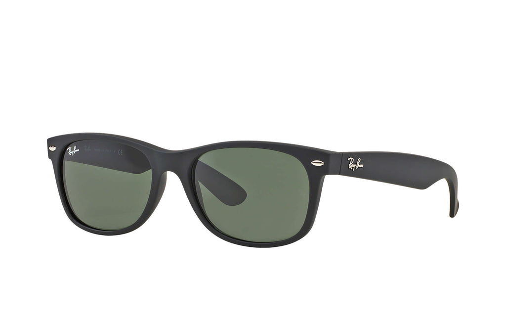 NEW WAYFARER SUNGLASSES BLACK RUBBER - GREEN CLASSIC