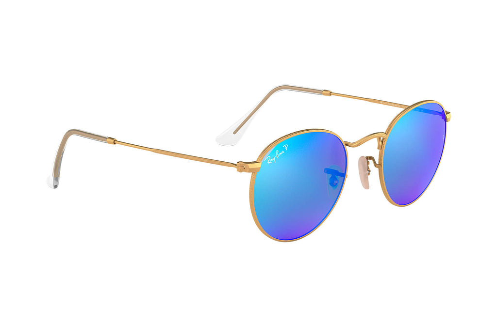 ROUND METAL SUNGLASSES MATTE GOLD - BLUE FLASH POLARIZED