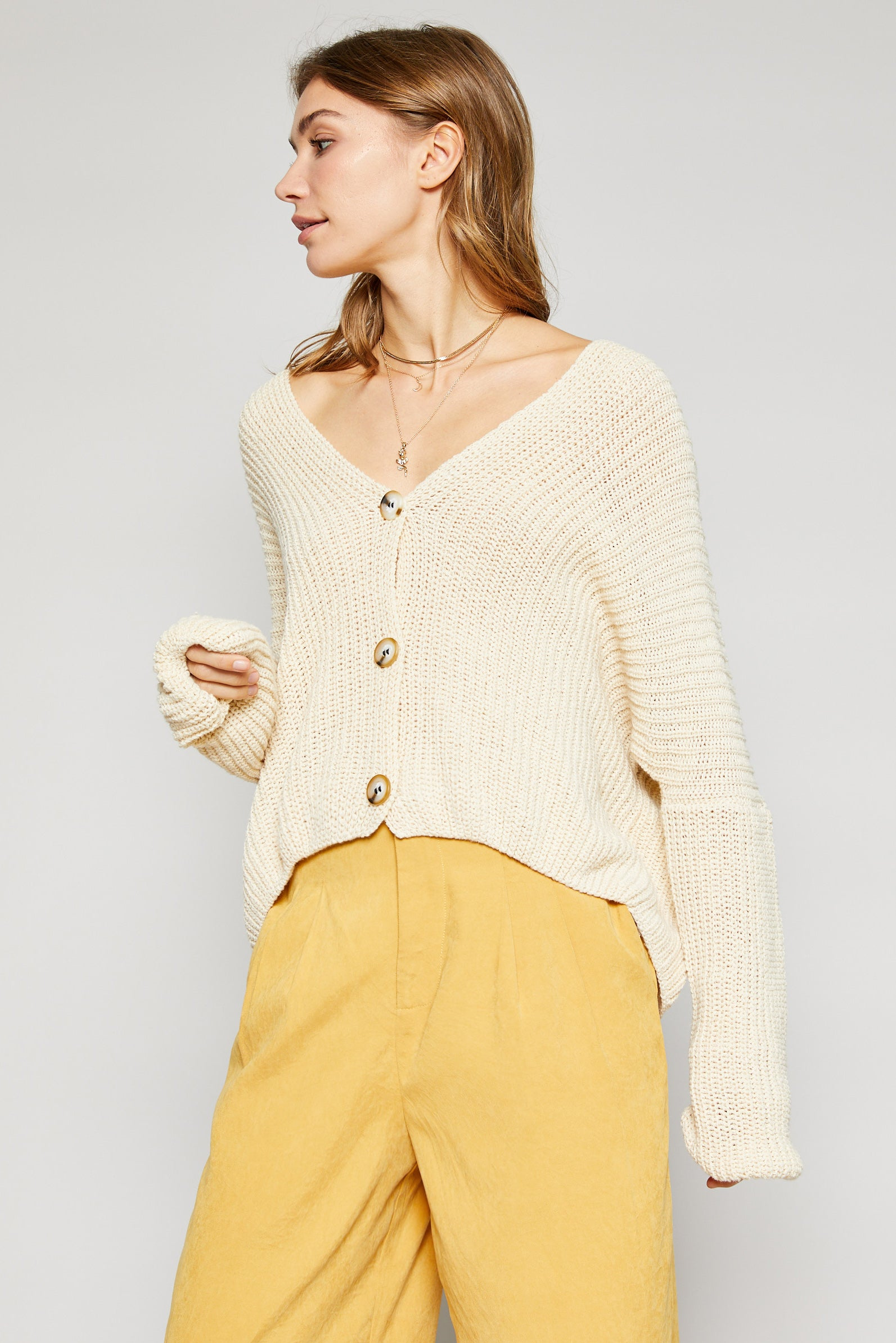 ANISA LOOSE KNIT CARDI - CREAM