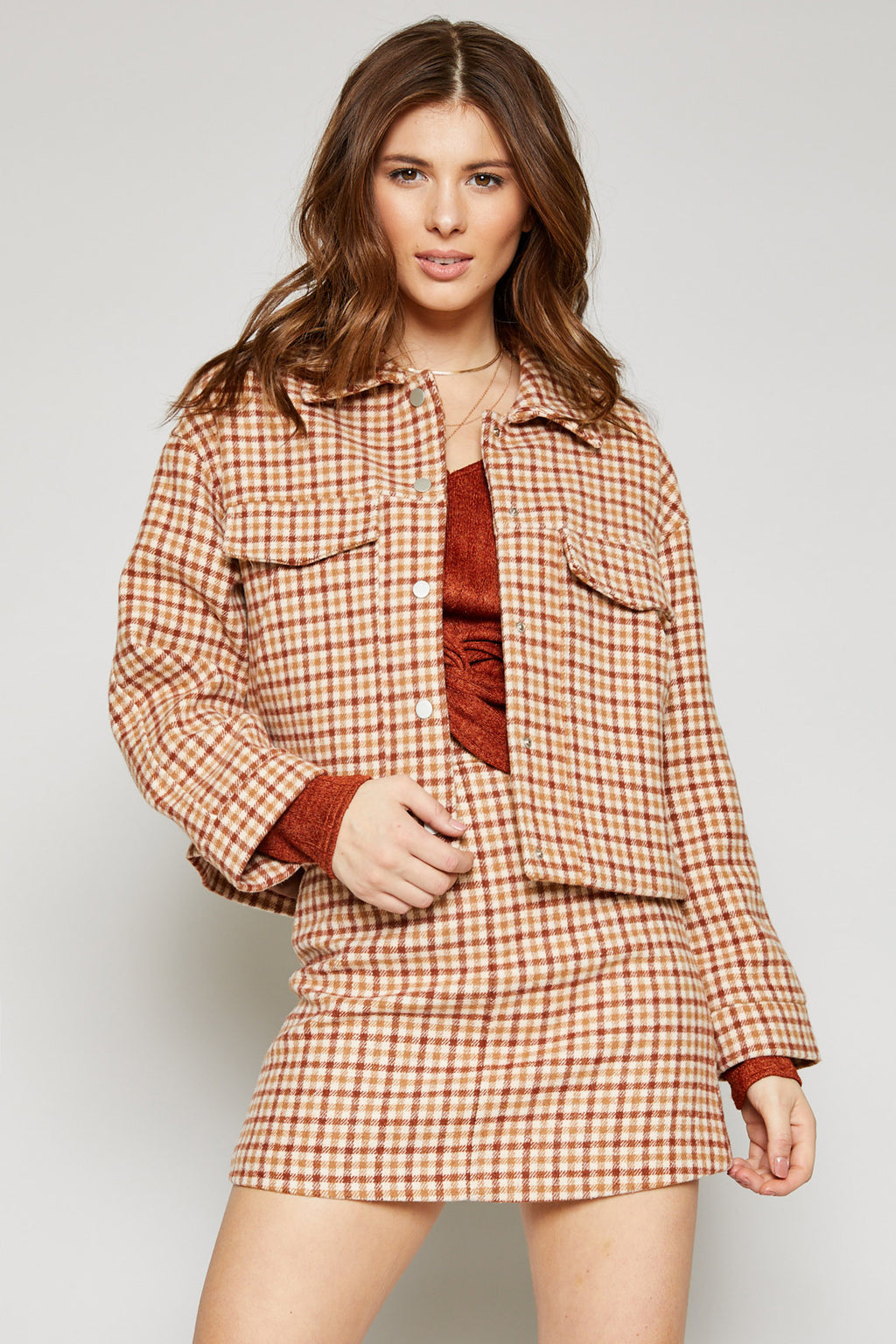 GREENWICH CHECK JACKET - CAMEL