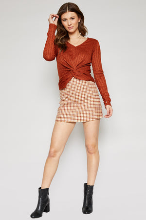 GREENWICH CHECK MINI SKIRT - CAMEL