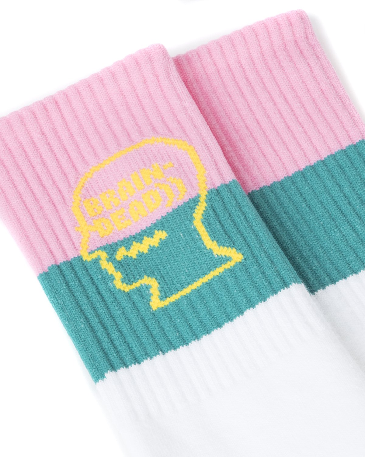 STRIPED LOGO HEAD SOCKS - WHITE/TEAL/PINK