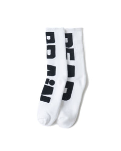 BRAINDEAD SOCKS WHITE O/S VERTICAL TYPE SOCKS - WHITE