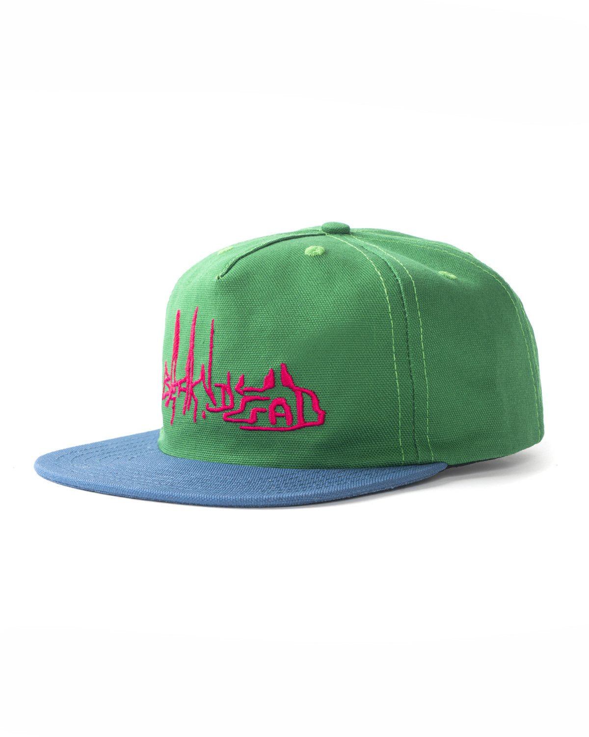 BRAINDEAD HATS GREEN O/S DISTORTED TEXT FIVE PANEL STRAPBACK