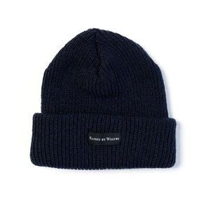 RAISED BY WOLVES TOQUES NAVY O/S WAFFLE KNIT WATCH CAP
