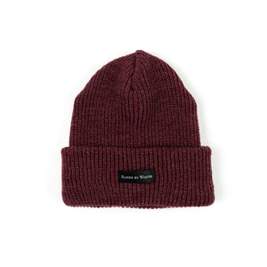 RAISED BY WOLVES TOQUES MAROON O/S WAFFLE KNIT WATCH CAP