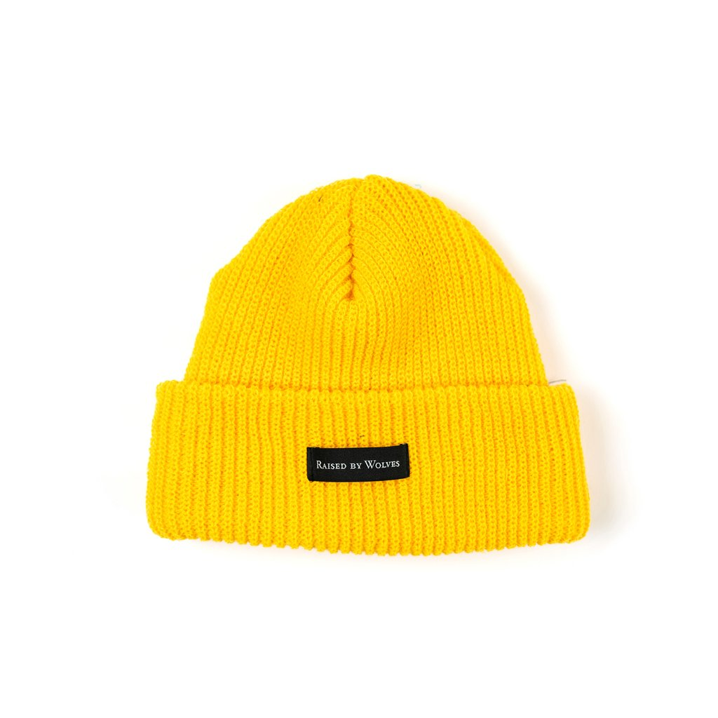 RAISED BY WOLVES TOQUES MUSTARD O/S WAFFLE KNIT WATCH CAP