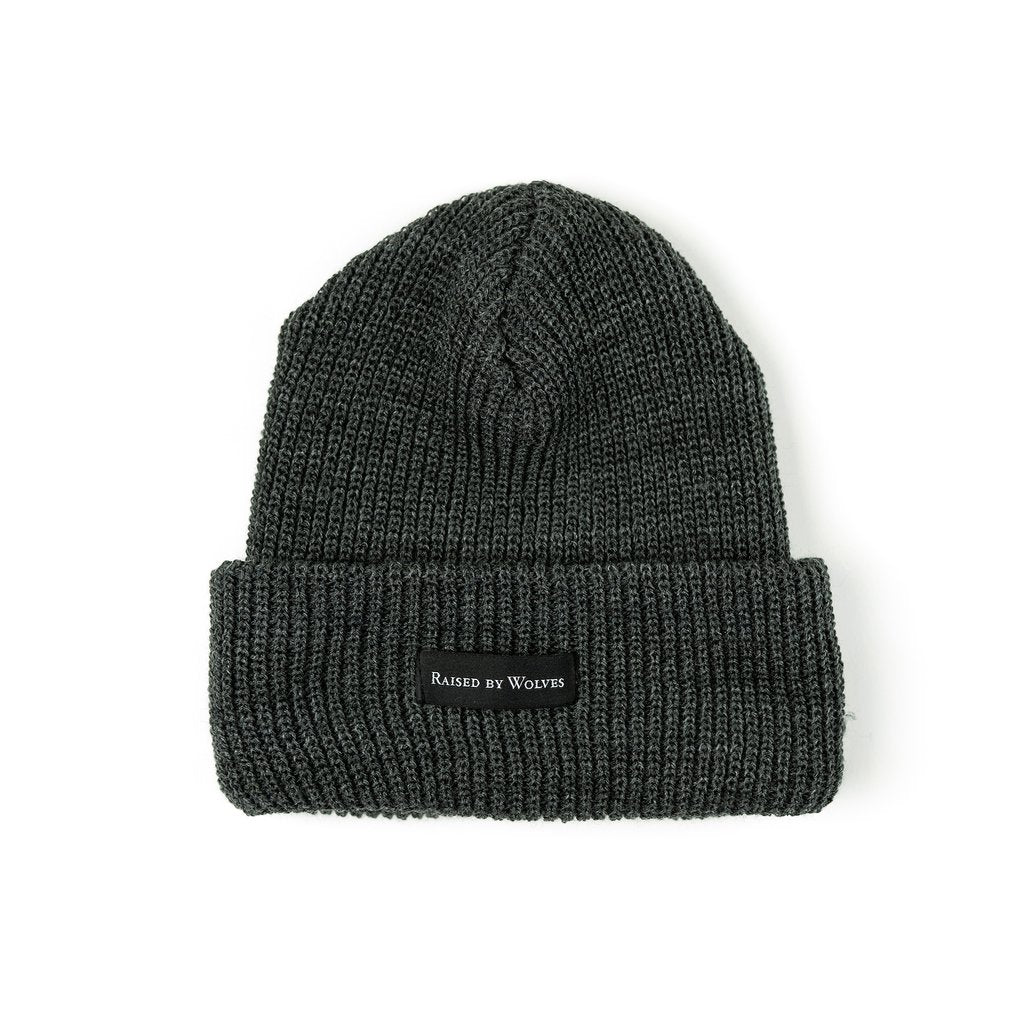 RAISED BY WOLVES TOQUES CHARCOAL O/S WAFFLE KNIT WATCH CAP