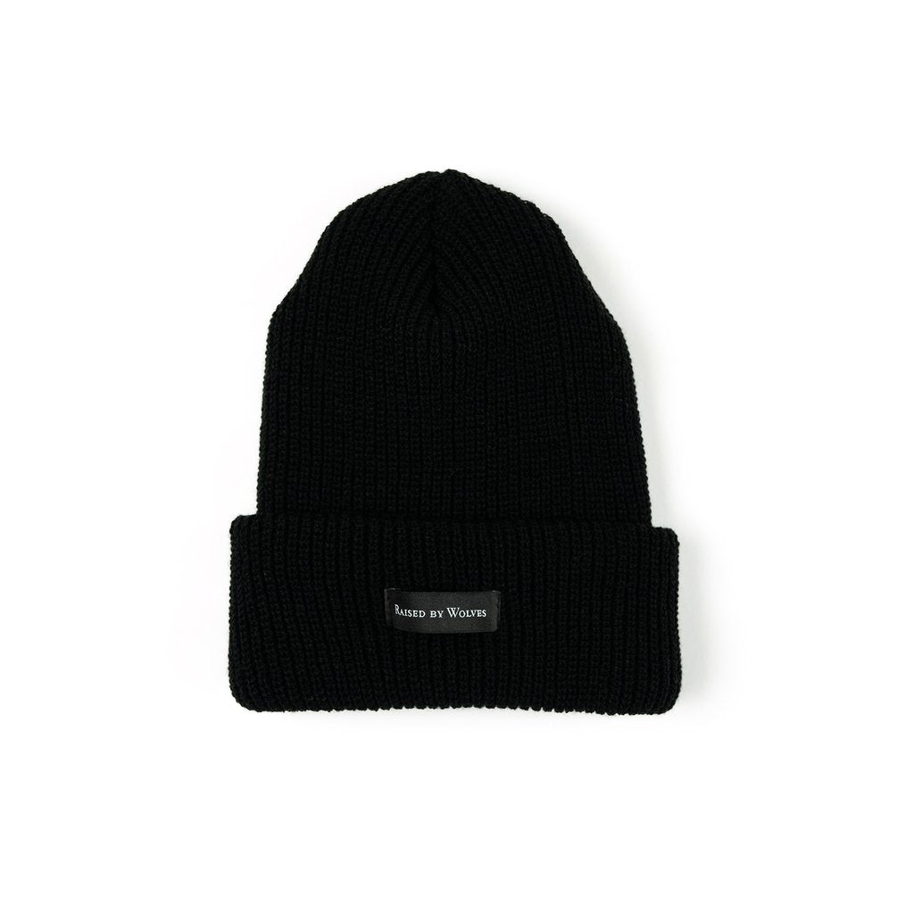 RAISED BY WOLVES TOQUES BLACK O/S WAFFLE KNIT WATCH CAP